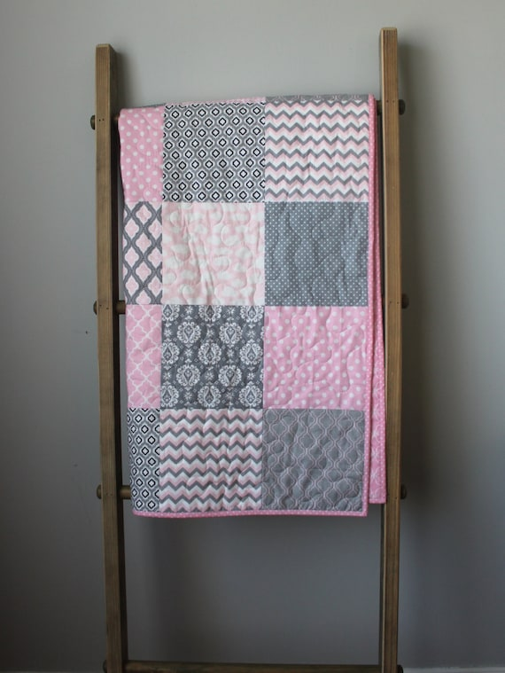 Baby Quilt Girl Modern Baby Quilt Pink And Grey Baby