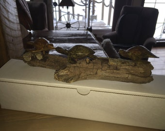 Wood Sea Turtle babies(x3) on Driftwood - Hand carved