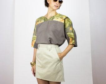 SALE Tan cotton fabric / Khaki bottomweight textile - pant fabric / Price per half yard