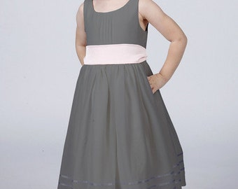 Slate Grey Flower Girl Dress with Complimentary Coloured Sash by Matchimony