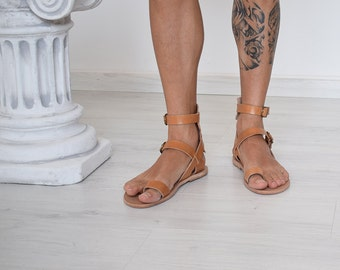 Handmade Sandals, Men Flip Flops, Men Sandals, Leather Sandals, Summer Sandals, Beach Sandals, Natural Color, Greek Sandals, Sport Sandals
