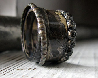 Man Wedding Band Man Wedding Ring Viking Ring Rustic Man Wedding Band Viking Wedding Ring Unique Man Wedding Band Black Gold Ring Wide