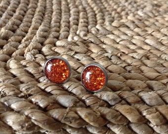 Beautiful Burnt Orange glitter 10mm silver stud earrings.