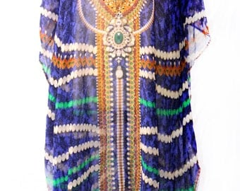Exclusive Crystal Stones Embellished Neckline Midi Kaftan Dress in Blue