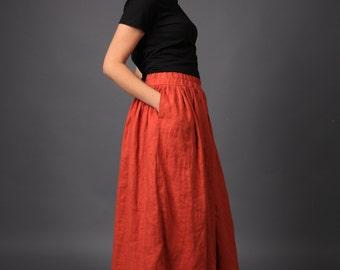 Linen skirt / Long Loose Linen skirt / Linen maxi skirt / Linen / Flax skirt / Skirt with pockets / Oversized skirt / Linen clothing