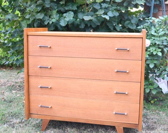 Chest of DRAWERS 4 drawers, wooden feet spindles, vintage SCANDINAVIAN