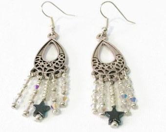 Long star earrings - Dangle earrings - Silver earrings - Long glass earrings - Long dangle earrings - Layering earrings - Teacher gifts