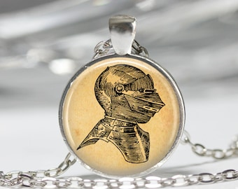 Vintage jewelry Knight helmet necklace Medieval pendant