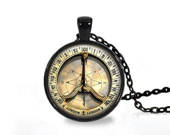 Antique London Compass pendant Vintage Navigation necklace Steampunk jewelry