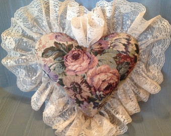 SALE!!! Large Heart Pillow, Vintage tapestry fabric, Boudoir Pillow, handmade floral heart pillow, LaceAtMidnight, roses heart pillow, chair