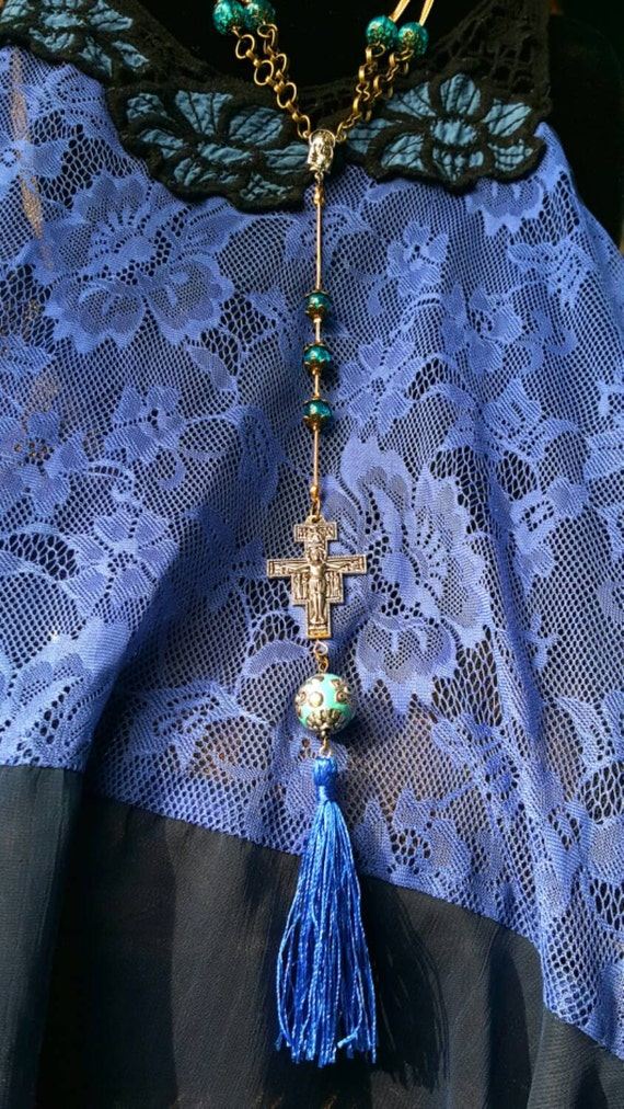 Hey Mary Peace Beads proudly by T.R. Jackson St.Francis crucifix Christ mala Jesus body jewlery boho chic spirit hipster rosary  Y necklace