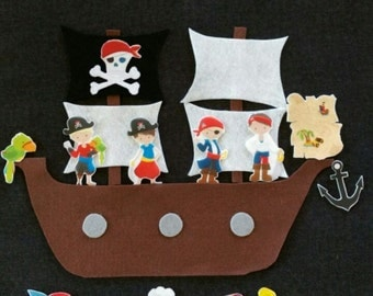 Pirate Felt Ship and Pirates Felt Board Set // Flannel Board Story // Cute//  Creative Play // Ahoy Mate //