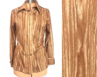 1970's Blouse | Rrruss Wood Grain Print Long Sleeve Hippie Blouse | Size: Small-Medium