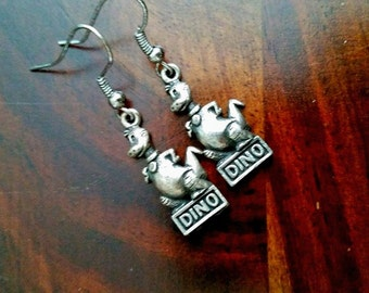 Dino Flinstones Silver Earrings