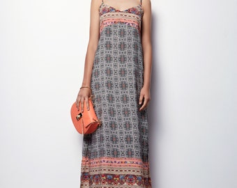 Printed  Maxi Dress, Summer Maxi Dress, Long Summer Dress- Marine p