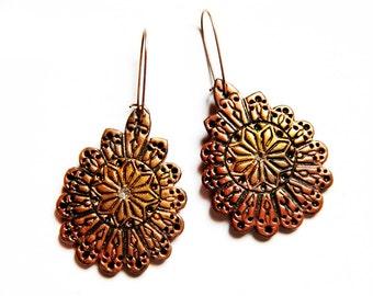 Ethnic earrings Gypsy jewelry Gift for her Gypsy earrings Gift for women gift Brown jewelry Big copper earrings Brown earrings Dangle gifts