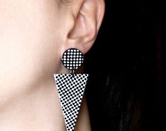Spike earrings Clip on earrings Black and white jewelry Triangle earrings Edgy earrings Fashion dangles Party design jewelry Arrow jewelry