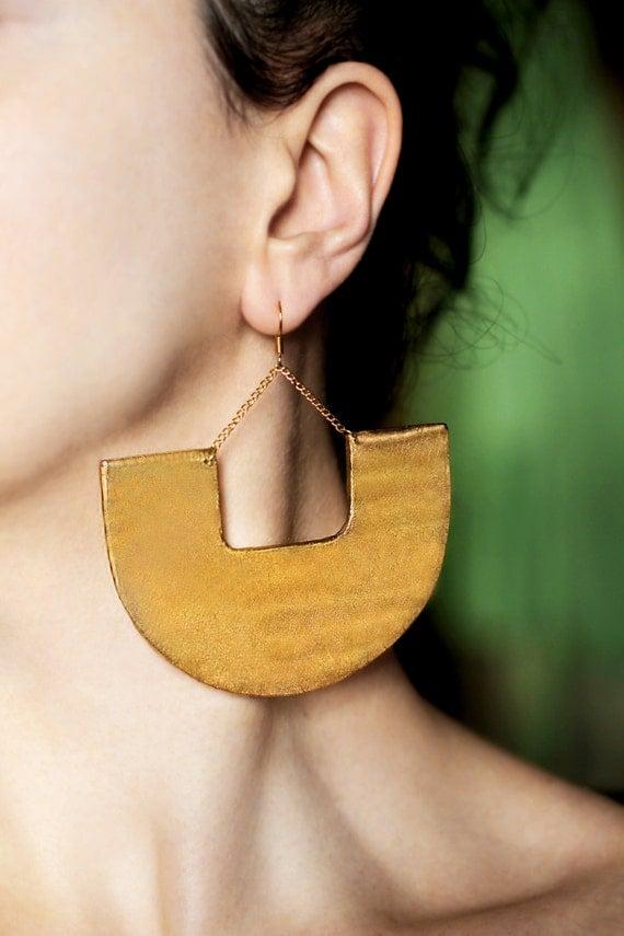 Large earrings Gold dangle earrings African earrings Tribal