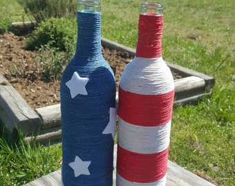 Red White Blue, Twine Wrapped Wine Bottle Set, Americana, Flag,Fourth of July, Centerpiece, USA, Independence Day, Home Decor, Vase, urbcoco