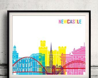 Newcastle pop art skyline 8x10 in. to 12x16 in. Fine Art Print Glicee Poster Gift Illustration Pop Art Colorful Landmarks - SKU 0543