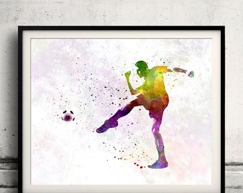 Man soccer football player 15 - poster watercolor wall art gift splatter sport soccer illustration print artistic - SKU 1459