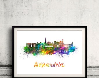Alexandria skyline in watercolor over white background with name of city - Poster Wall art Illustration Print - SKU 1569