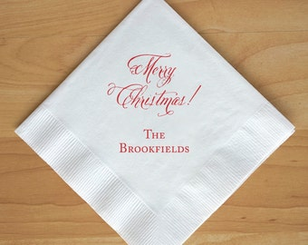 Personalized Beverage Napkins - Merry Christmas