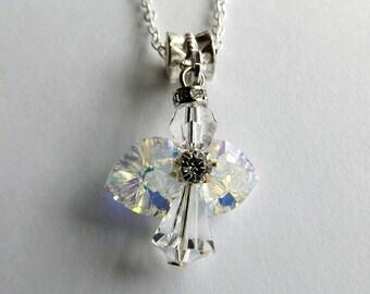 Crystal Angel Necklace ~ Swarovski Angel Necklace ~ Angel Jewellery ~ Angel Pendant ~ Mothers Day