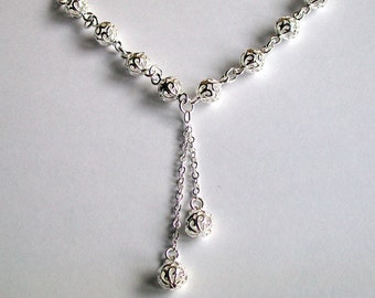 Silver Ball Necklace ~ Filigree Ball Necklace ~ Ball Necklace ~ Silver Necklace ~ Silver Jewellery