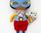 Black superhero doll, afroamerican fabric doll what can be a girl or a boy as well