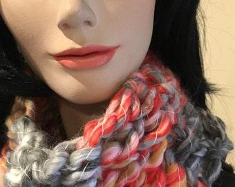 Handmade Cowl-Crochet Cowl-Funky Head Band-Ski Head Band- Cream-Grey-Gray-Orange-Australia