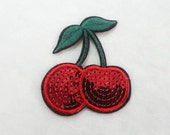 Cherry Sequin Iron on Patch (L) - Sequin Cherry,Glitter Applique Iron on Patch - Size 6.6x7.9 cm