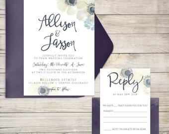 Wedding Invitation Suite, Wedding Invitation, Watercolor Anemone Wedding Invitation, Modern, Script, Flower Invitation