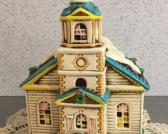 Lefton Vintage Ceramic Church Hand Painted | 1986 Geo. Z. Lefton | Church of the Golden Rule | Christmas Display | Model Railroad | Japan