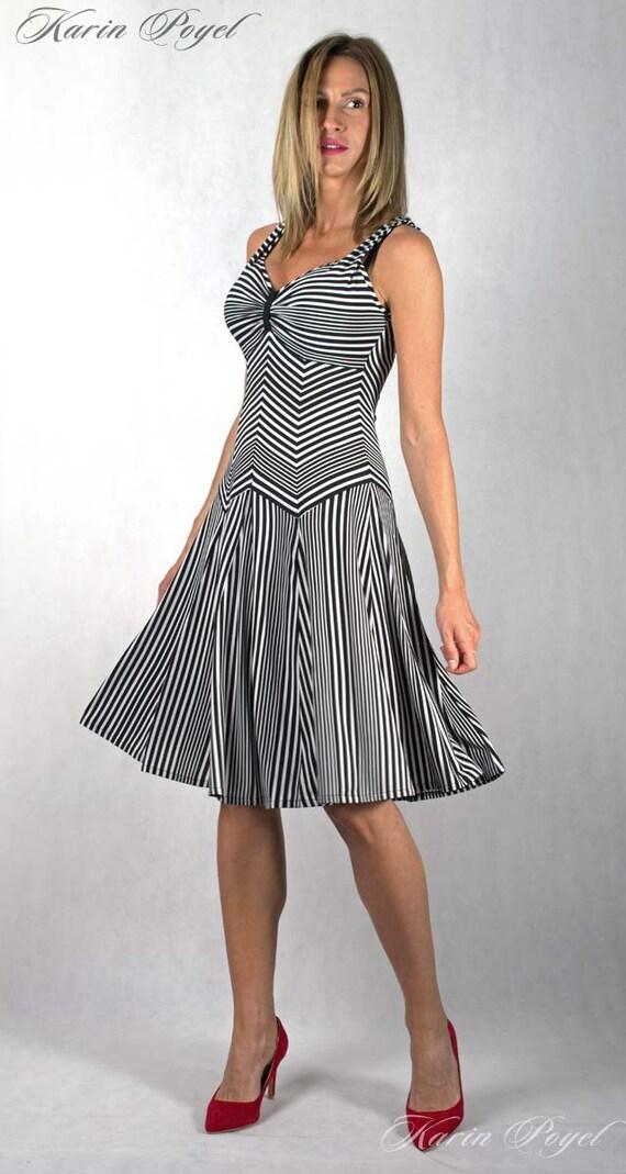 2th Romantic Summer Bell Design / Stripe Dress / Black and White Stripes / Bell Skirt Dress / KARIN # 12-048-01-00-14