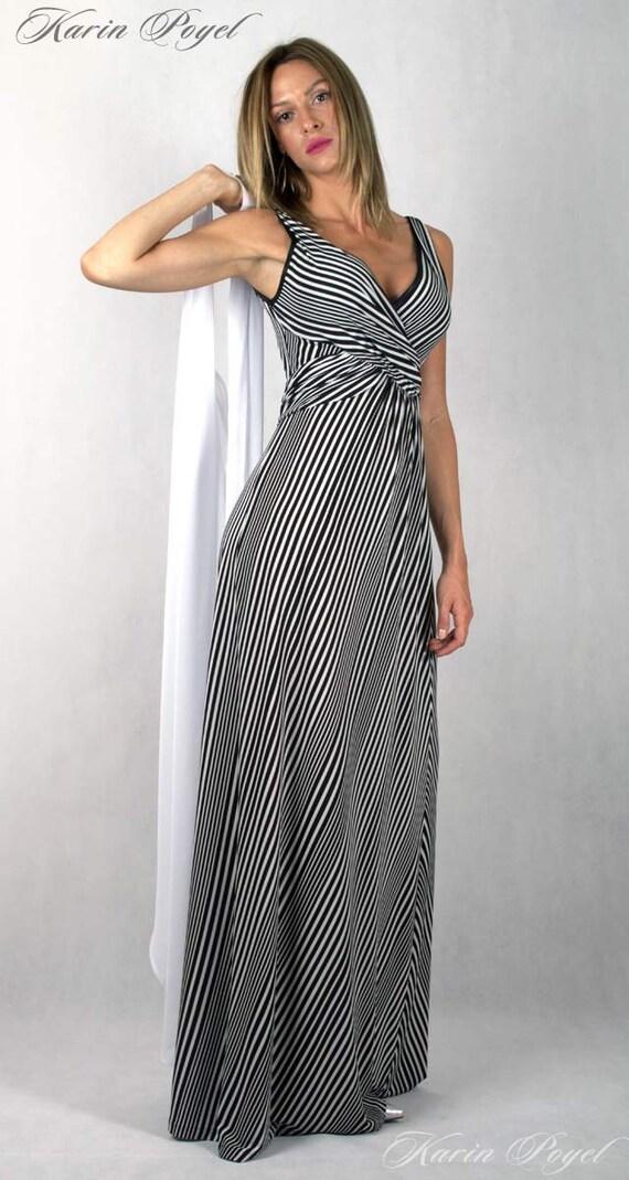 3th Romantic Summer Maxi Design / Stripe Dress / Black and White Stripes / Bell Skirt Dress / KARIN # 12-035-01-00-14