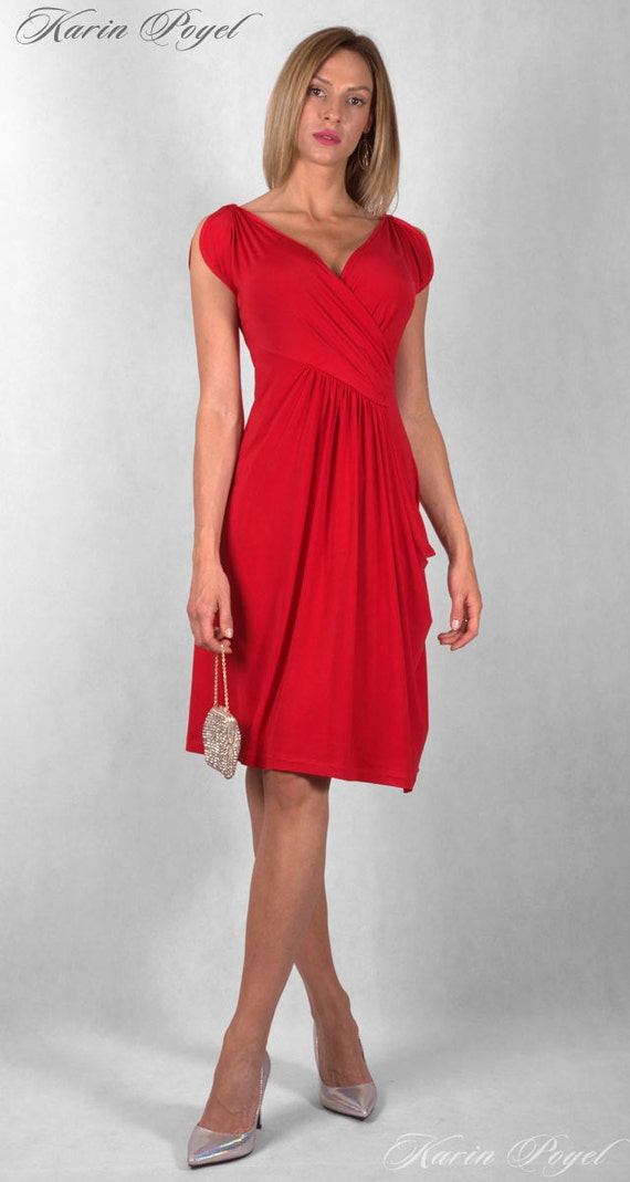 Romantic Red Summer Design / Cocktail Dress / Red Dress/ KARIN # 12-046-01-02-00