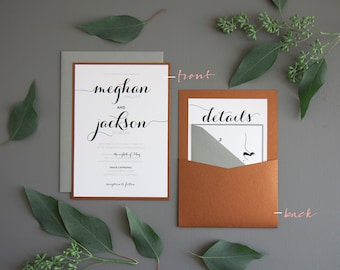 Modern Script Wedding Invitation SAMPLE, Panel Pocket, Copper and Grey