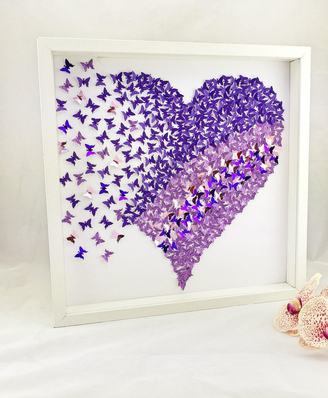 3D Paper Purple Butterfly Heart Butterfly Wall Art 3D