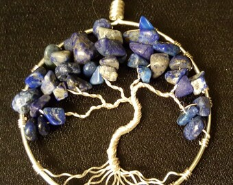 Lapis Lazuli Silver and Copper Wire-Wrapped Tree of Life Pendants