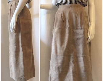 Suede Skirt with Pockets