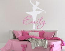Ballerina Wall Decal, Dance Wall Decal, Personalized Girls Dance Decal, Girl Name Wall