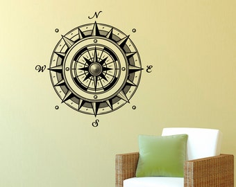 Wall Decal Nautical Compass Rose Wall Decor Navigation Ship Ocean Sea Sticker- Compass Rose Wall Decal For Living Room Bedroom Office C043