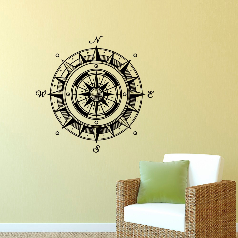 Wall Decal Nautical Compass Rose Wall Decor by FabWallDecals