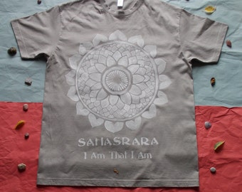 Light Gray//Hand Painted// 100 % Cotton//size-L// T-Shirt//with Sahasrara/Crown/seventh Chakra// White Motif