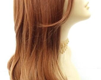 Long 24 inch Straight Dark Strawberry Blonde Heat Resistant Wig. [50-267-Emily-27]