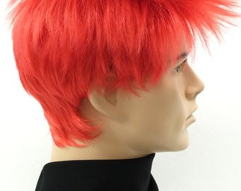 Red Short Spiky Mens Wig. Punk Rocker Cosplay Costume Wig. [54-289-Spike-Red]