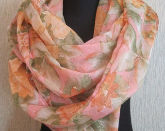 Hand Painted Silk Scarf with ,Pink Colors Summer,Flowers Print