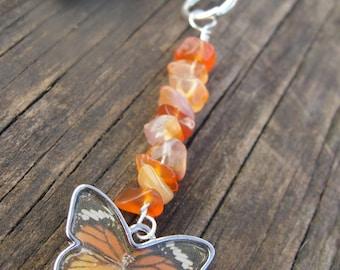 Carnelian and butterfly keychain, Carnelian zipper charm