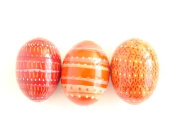 Pysanky Pisanki Ukrainian Easter Egg wooden easter eggs Hand Decorated Chicken Egg orange  abstraction